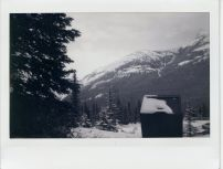 At the base of Sulphur mountain, Instax 100, monochrome film