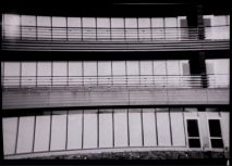 The east end of the building is monolithic and institutional.  5x7 camera using Kentmere paper, 2 sec at f/8, Dektol 1:3