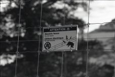 Since a fence isn't 100% effective, high voltage electricity was added, OM-2n Fomapan 400, A76 1:1
